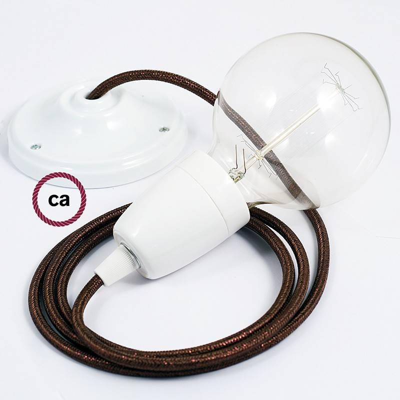 Pendel en porcelana, lámpara colgante cable textil Marrón Glitter RL13