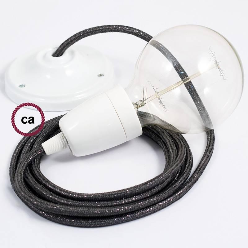 Pendel en porcelana, lámpara colgante cable textil Gris Glitter RL03