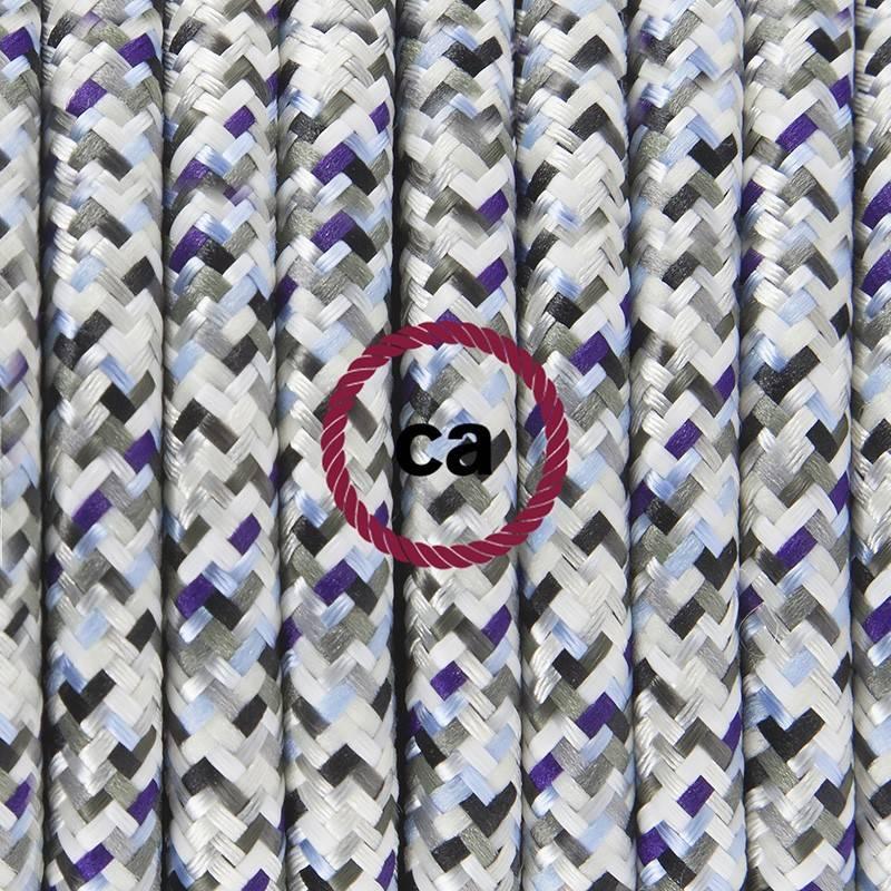 Pendel en porcelana, lámpara colgante cable textil Pixel Hielo RX04