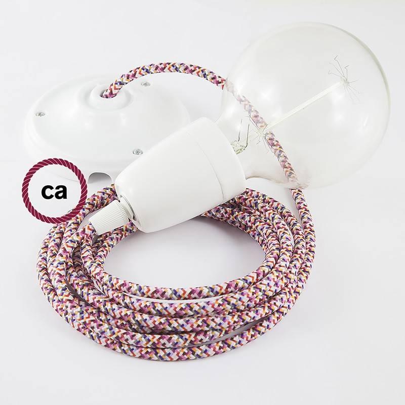 Pendel en porcelana, lámpara colgante cable textil Pixel Fuchsia RX00