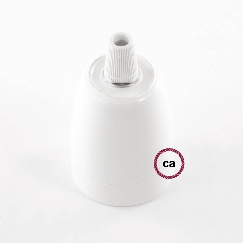 Pendel en porcelana, lámpara colgante cable textil Plateado en tejido Efecto Seda TM02