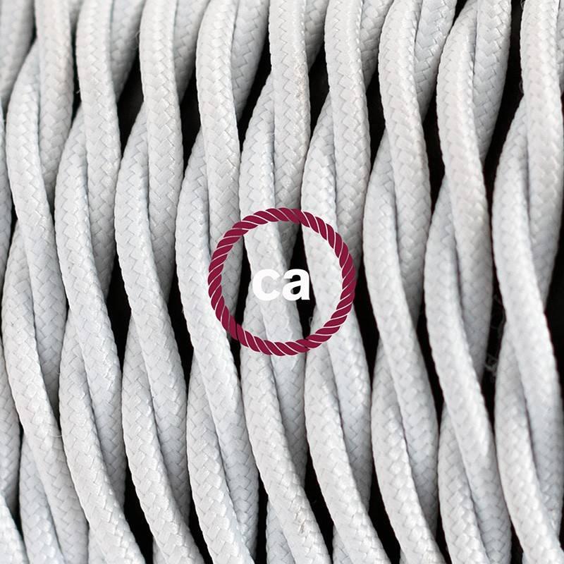 Pendel en porcelana, lámpara colgante cable textil Blanco en tejido Efecto Seda TM01