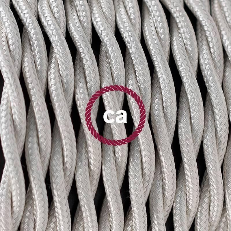 Pendel en porcelana, lámpara colgante cable textil Marfil en tejido Efecto Seda TM00