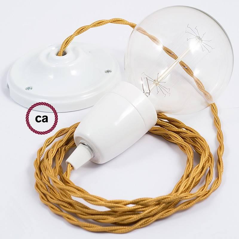 Pendel en porcelana, lámpara colgante cable textil Dorado en tejido Efecto Seda TM05