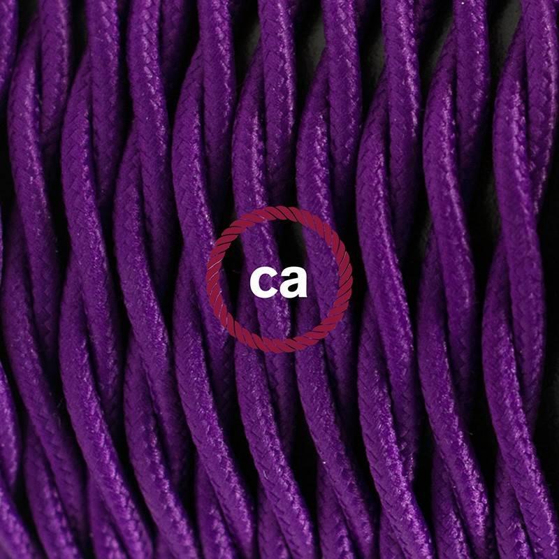Pendel en porcelana, lámpara colgante cable textil Púrpura en tejido Efecto Seda TM14