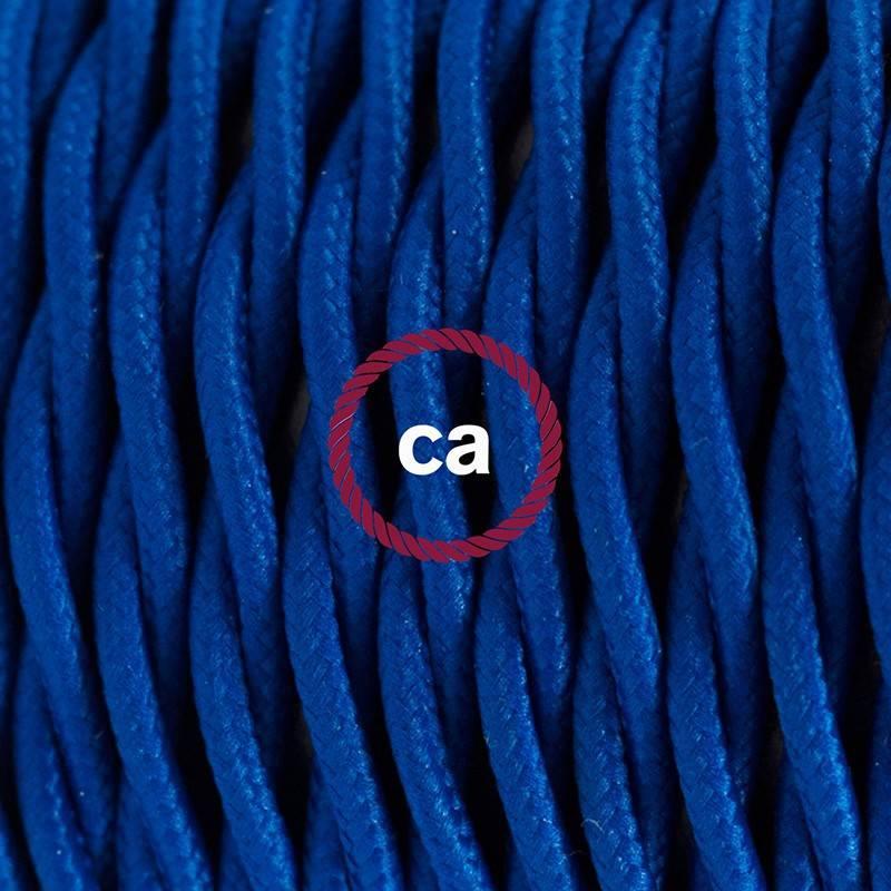 Pendel en porcelana, lámpara colgante cable textil Azul en tejido Efecto Seda TM12