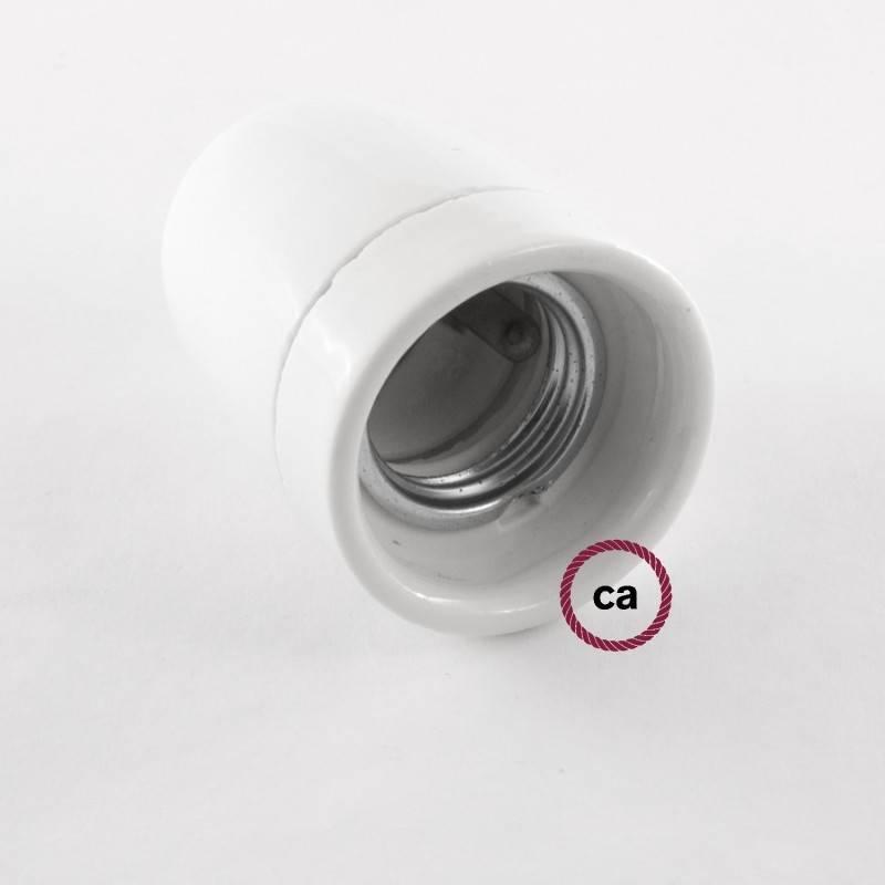 Pendel en porcelana, lámpara colgante cable textil Turquesa en tejido Efecto Seda TM11