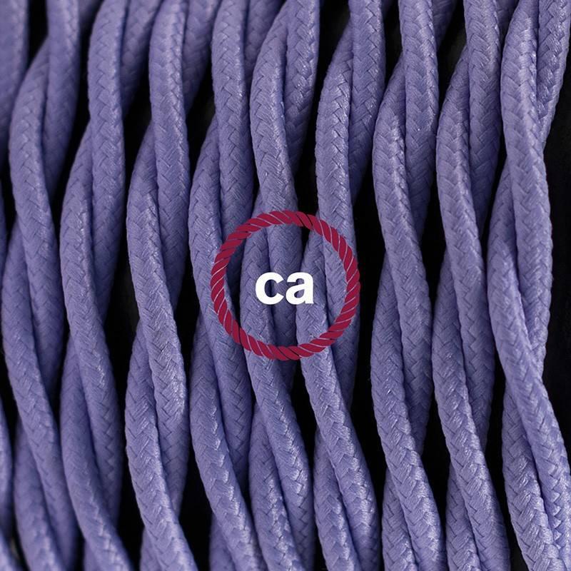 Pendel en porcelana, lámpara colgante cable textil Lila en tejido Efecto Seda TM07
