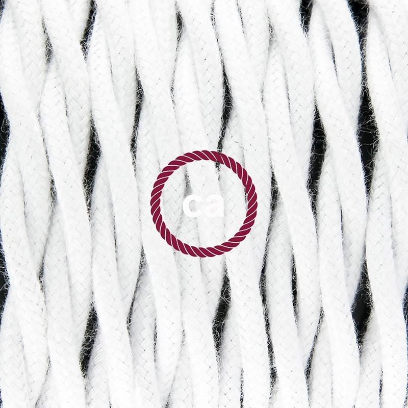 Pendel en porcelana, lámpara colgante cable textil Blanco en Algodón TC01