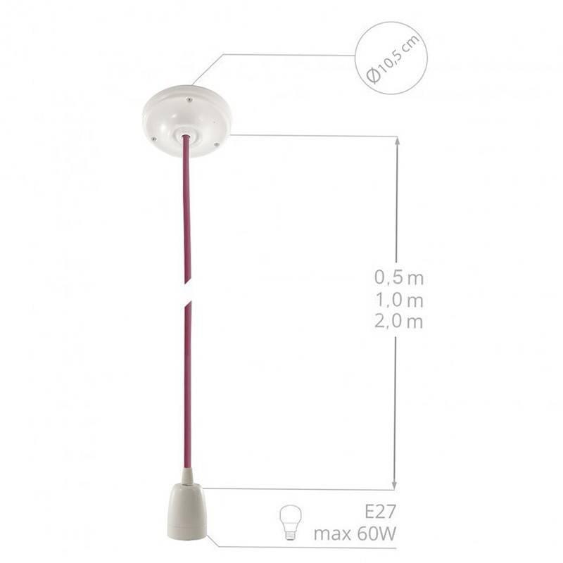 Pendel en porcelana, lámpara colgante cable textil Fuchsia en tejido Efecto Seda TM08