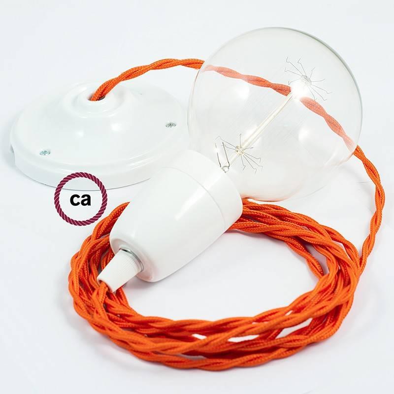 Pendel en porcelana, lámpara colgante cable textil Naranja en tejido Efecto Seda TM15