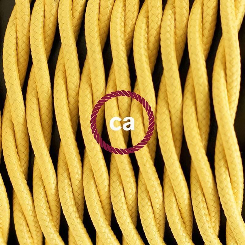 Pendel en porcelana, lámpara colgante cable textil Amarillo en tejido Efecto Seda TM10