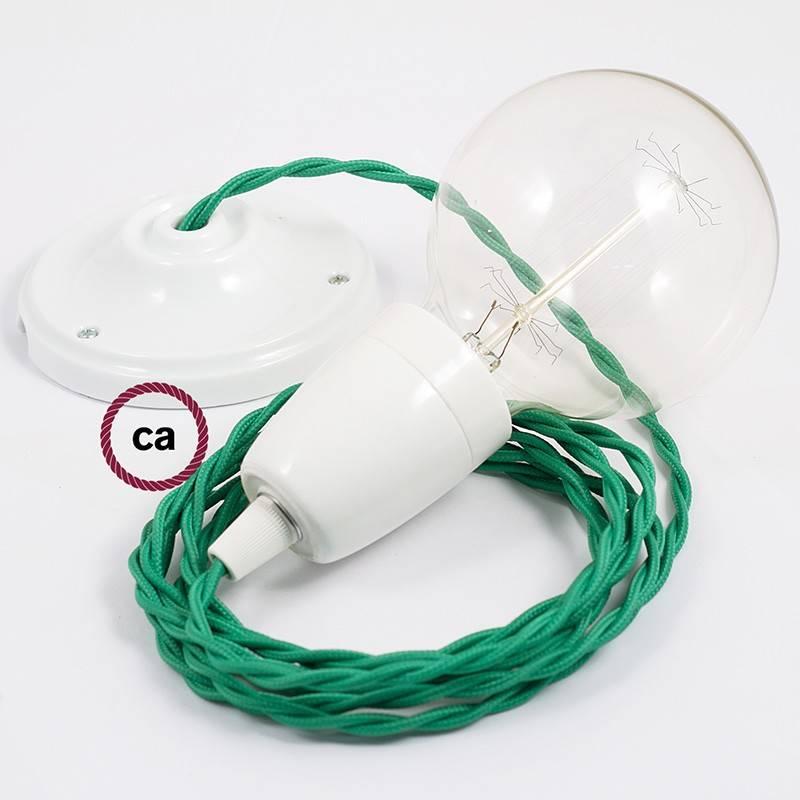 Pendel en porcelana, lámpara colgante cable textil Verde en tejido Efecto Seda TM06