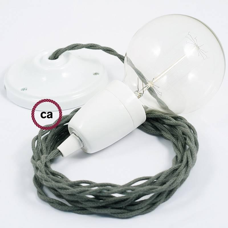 Pendel en porcelana, lámpara colgante cable textil Gris Verde en Algodón TC63