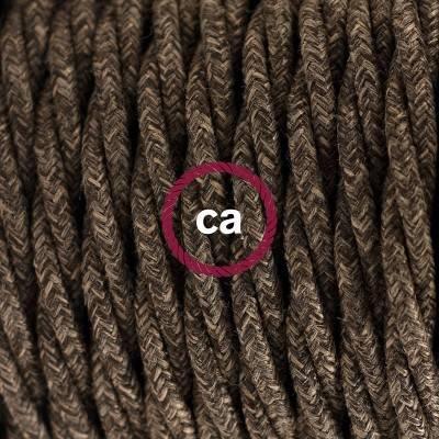 Pendel en porcelana, lámpara colgante cable textil Marrón en Lino Natural TN04