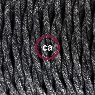 Pendel en porcelana, lámpara colgante cable textil Antracita en Lino Natural TN03