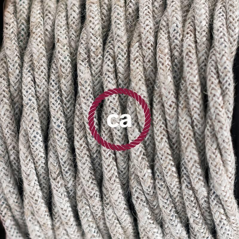 Pendel en porcelana, lámpara colgante cable textil Neutro en Lino Natural TN01
