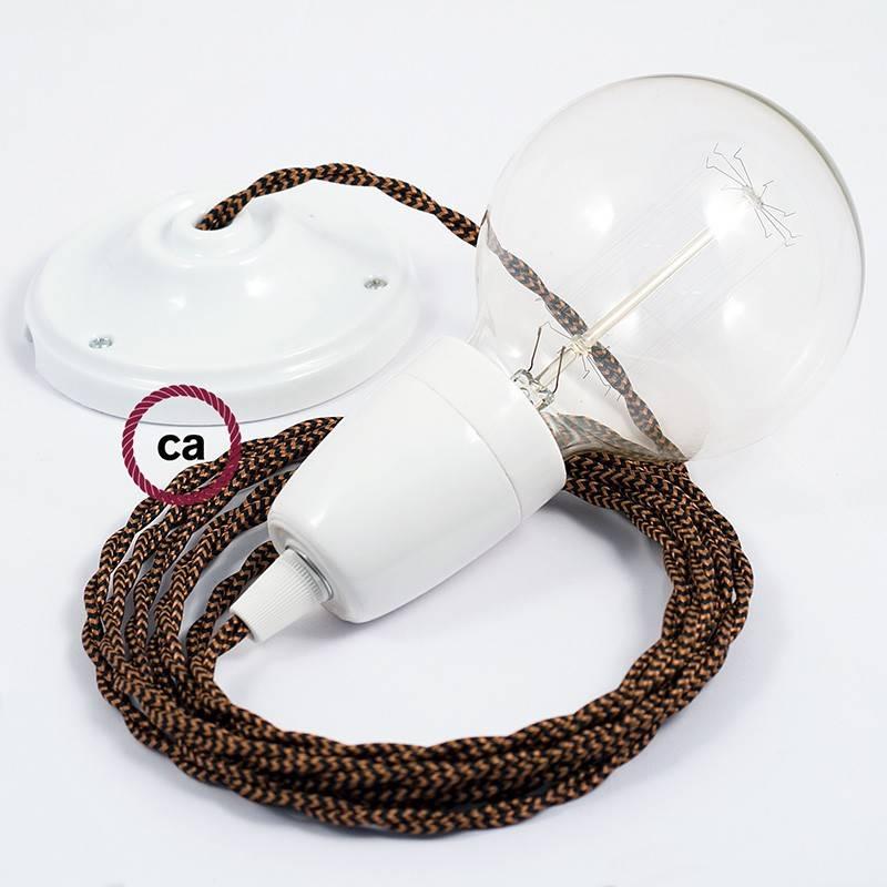 Pendel en porcelana, lámpara colgante cable textil Negro e Whiskey en tejido Efecto Seda TZ22