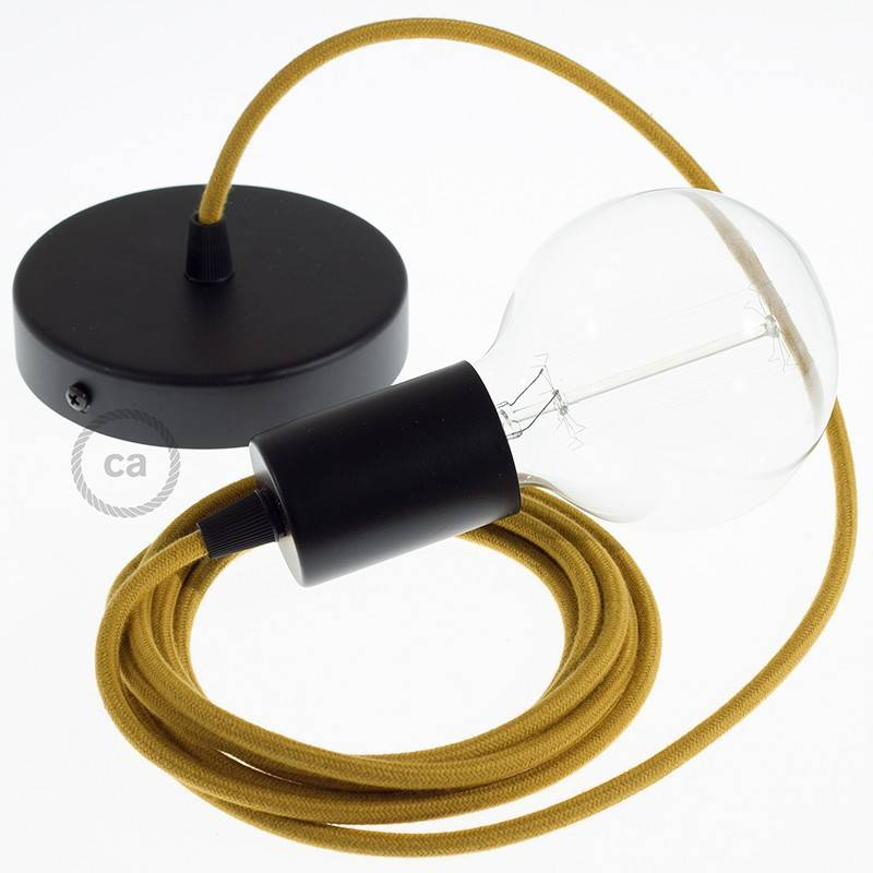 Pendel único, lámpara colgante cable textil Miel Dorado Algodón RC31