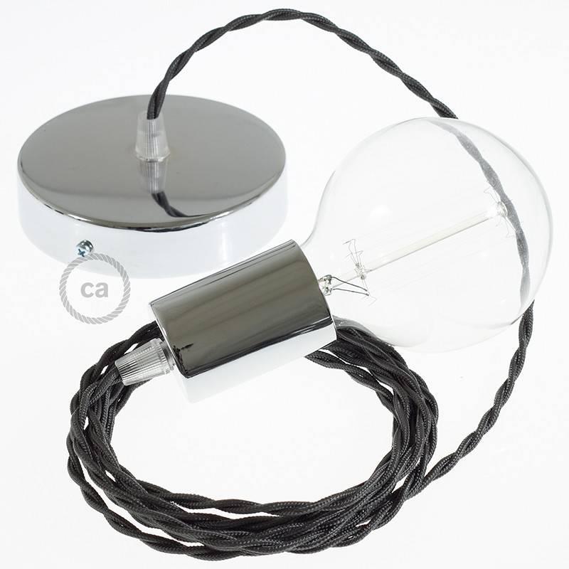 Pendel único, lámpara colgante cable textil Gris Oscuro Efecto Seda TM26