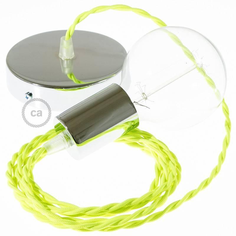 Pendel único, lámpara colgante cable textil Amarillo Fluo TF10