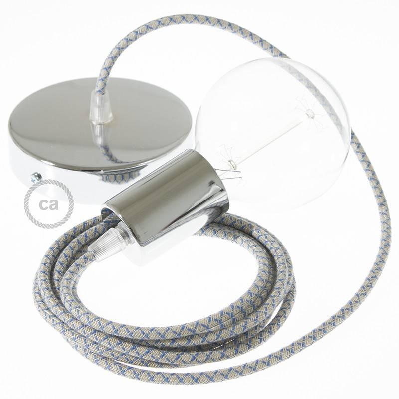 Pendel único, lámpara colgante cable textil Rombo Azul Steward RD65