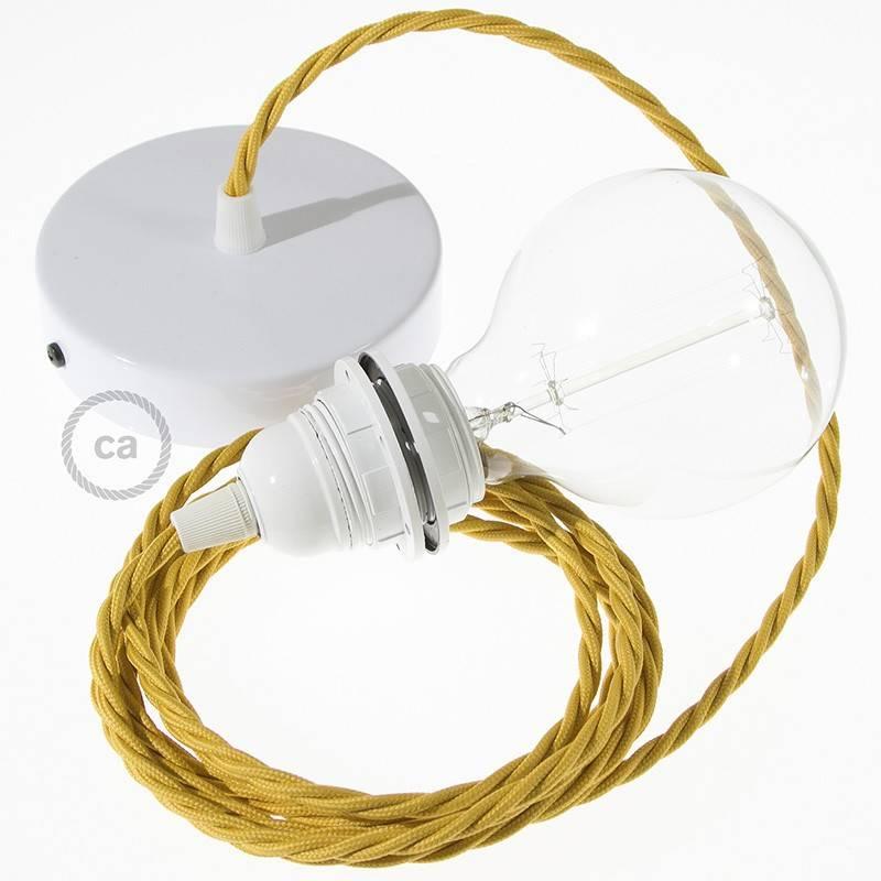 Pendel para pantalla, lámpara colgante cable textil Mostaza Efecto Seda TM25