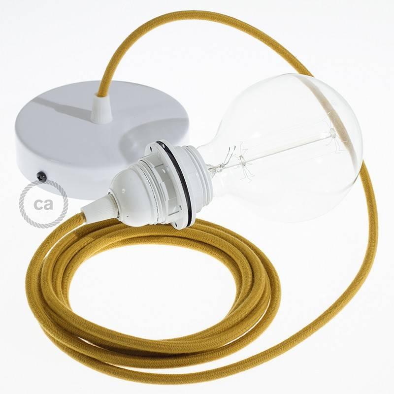 Pendel para pantalla, lámpara colgante cable textil Miel Dorado Algodón RC31
