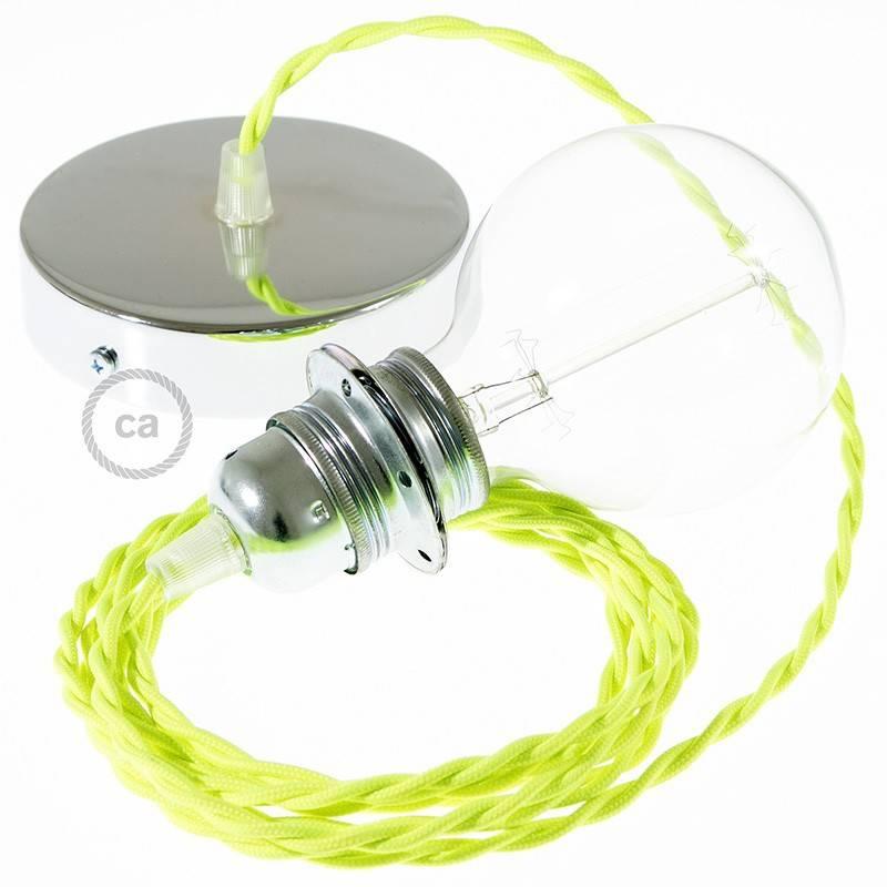 Pendel para pantalla, lámpara colgante cable textil Amarillo Fluo TF10
