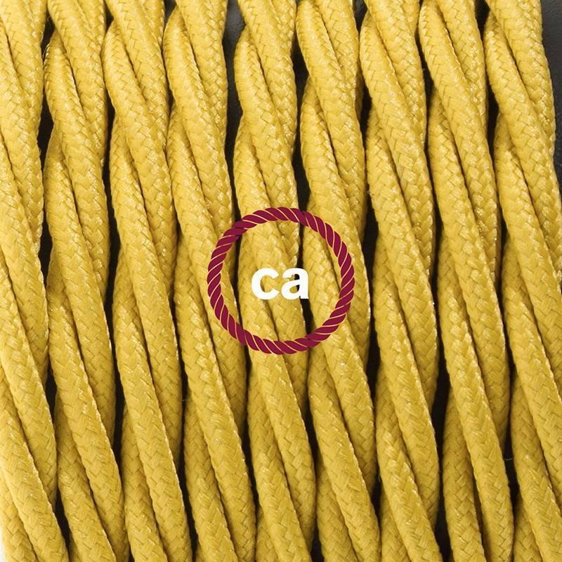 Pendel en porcelana, lámpara colgante cable textil Mostaza en tejido Efecto Seda TM25