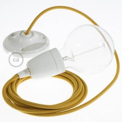 Pendel en porcelana, lámpara colgante cable textil Miel Dorado en Algodón RC31