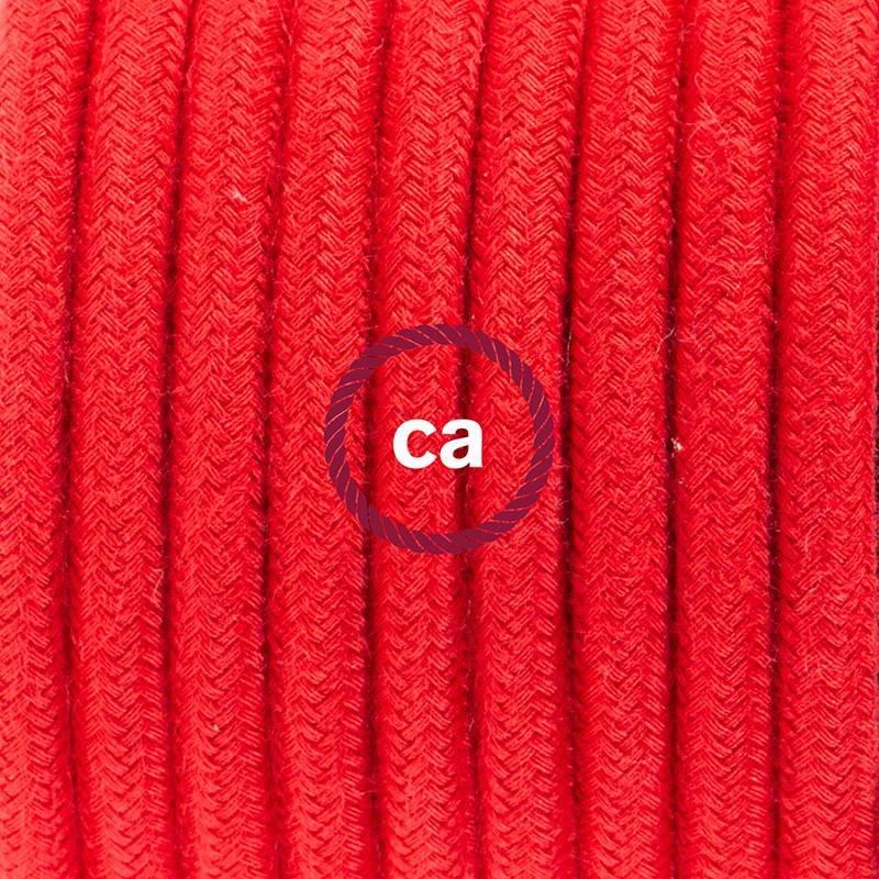 Pendel en porcelana, lámpara colgante cable textil Rojo Fuego en Algodón RC35