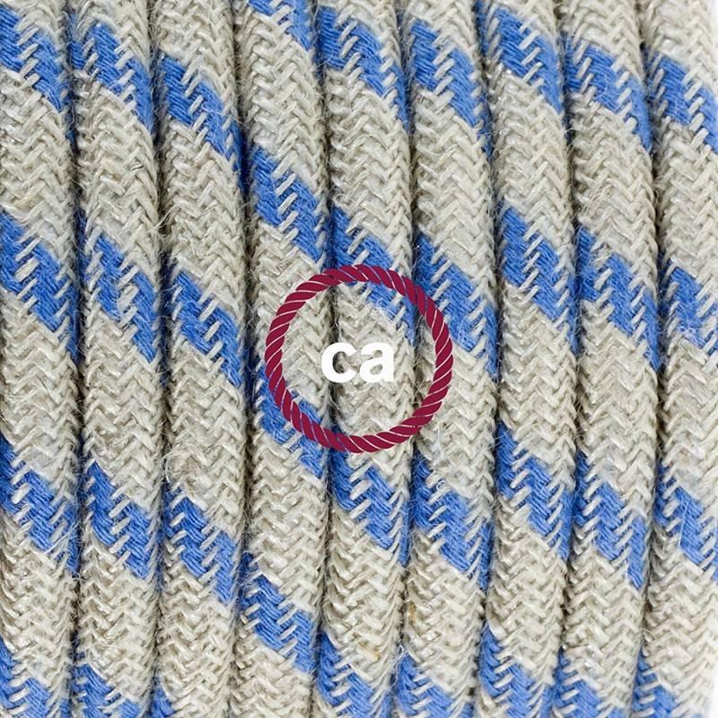 Pendel en porcelana, lámpara colgante cable textil Stripes Azul Steward RD55