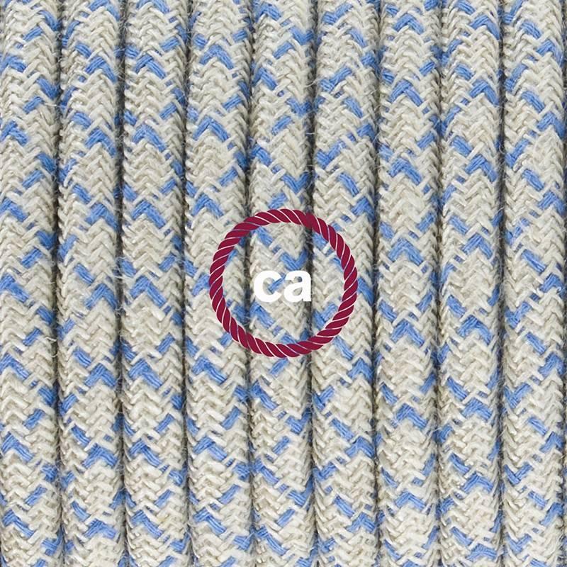 Pendel en porcelana, lámpara colgante cable textil Rombo Azul Steward RD65