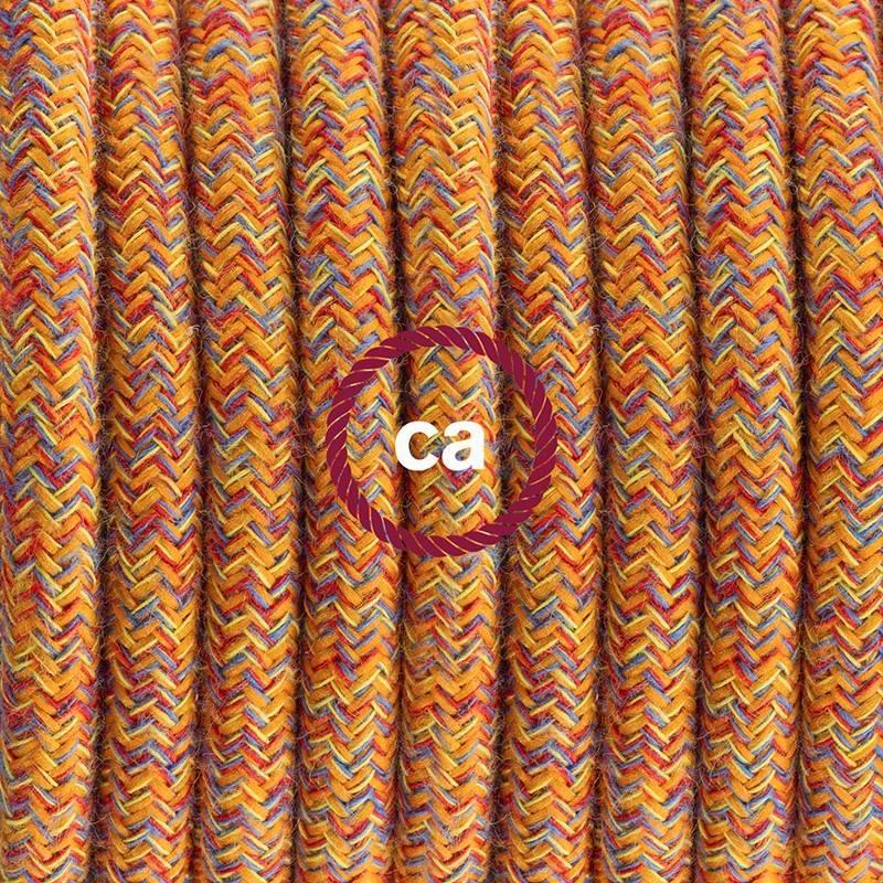 Pendel en porcelana, lámpara colgante cable textil Indian Summer en Algodón RX07