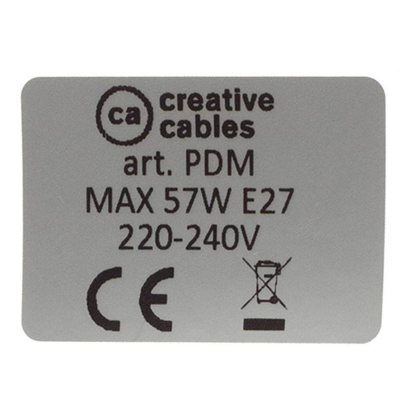 Pendel único, lámpara colgante cable textil Negro en tejido Efecto Seda TM04