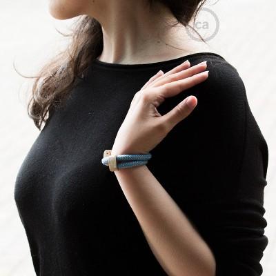 Creative-Bracelet en Algodón y Lino Natural Azul Steward RD75. Cierre corredero en madera. Made in Italy.