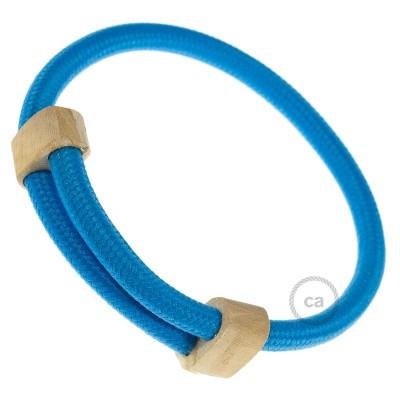 Creative-Bracelet en tejido Efecto Seda Turquesa RM11. Cierre corredero en madera. Made in Italy.