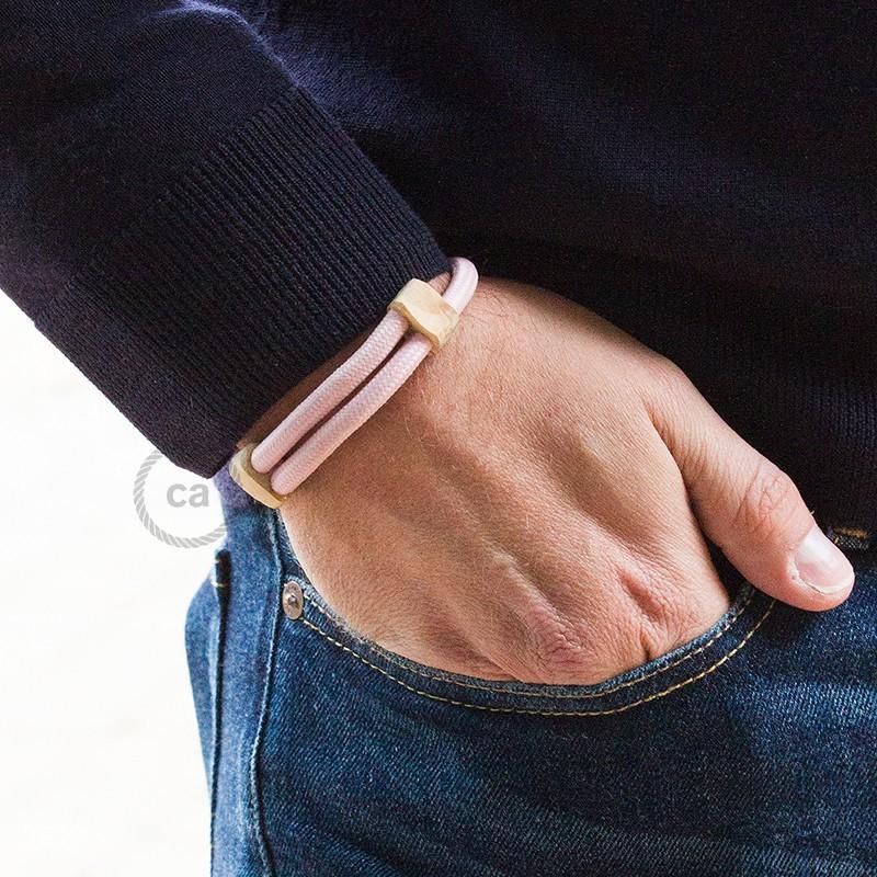 Creative-Bracelet en tejido Efecto Seda Rosa Bebè RM16. Cierre corredero en madera. Made in Italy.