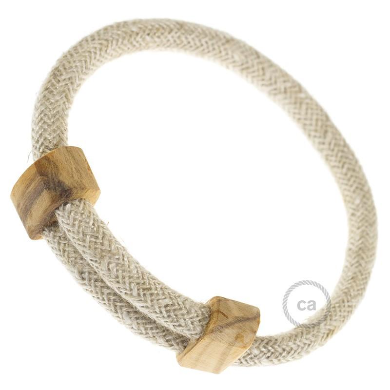 Creative-Bracelet en Lino Natural Neutro RN01. Cierre corredero en madera. Made in Italy.