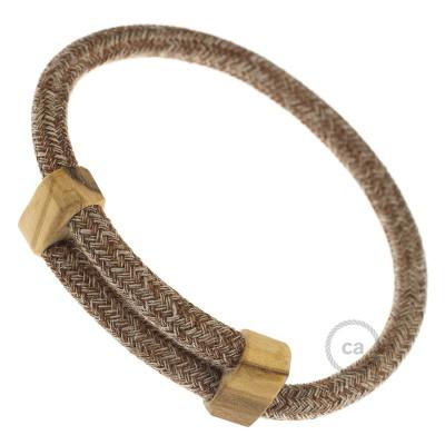 Creative-Bracelet en Algodón y Lino Natural Tweed Herrumbre. Cierre corredero en madera. Made in Italy.
