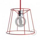 Jaula lámpara desnuda Cono metal color Rojo casquillo E27