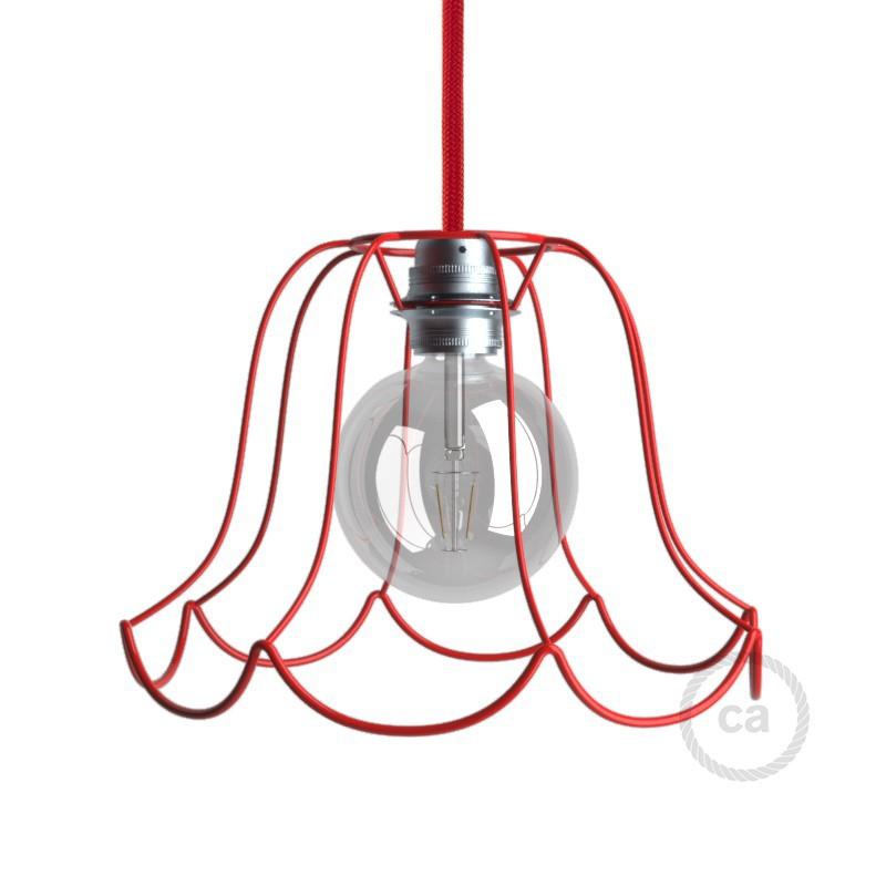 Jaula lámpara desnuda Susy metal color Rojo casquillo E27