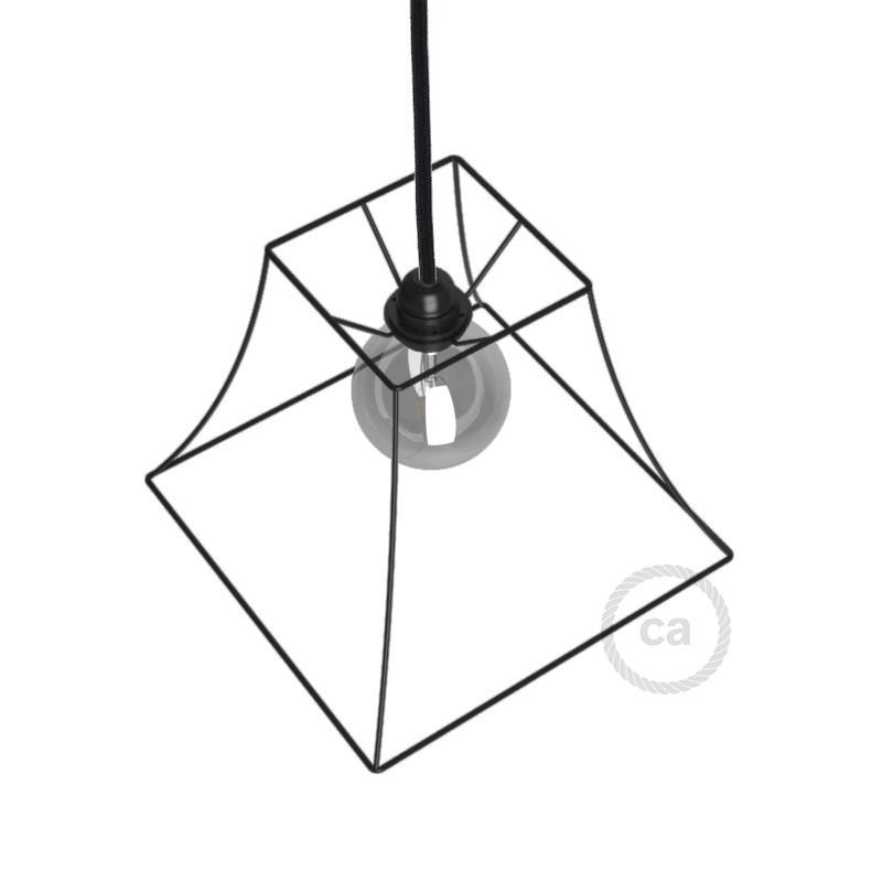 Jaula lámpara desnuda Pirámide metal color Negro casquillo E27
