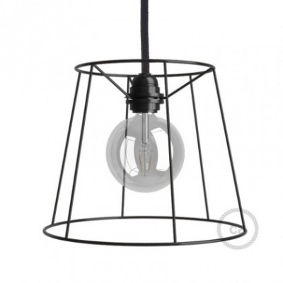 Jaula lámpara desnuda Cono metal color Negro casquillo E27