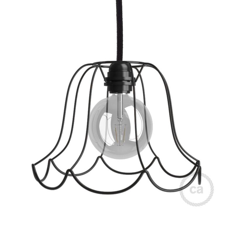 Jaula lámpara desnuda Susy metal color Negro casquillo E27