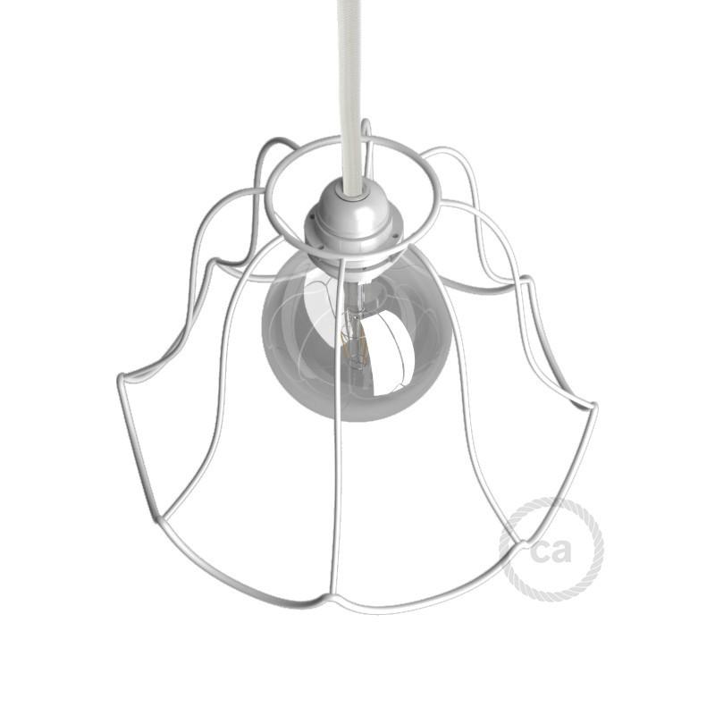 Jaula lámpara desnuda Susy metal color Blanco casquillo E27