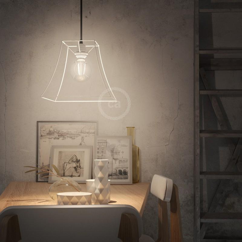 Jaula lámpara desnuda Pirámide metal color Blanco casquillo E27