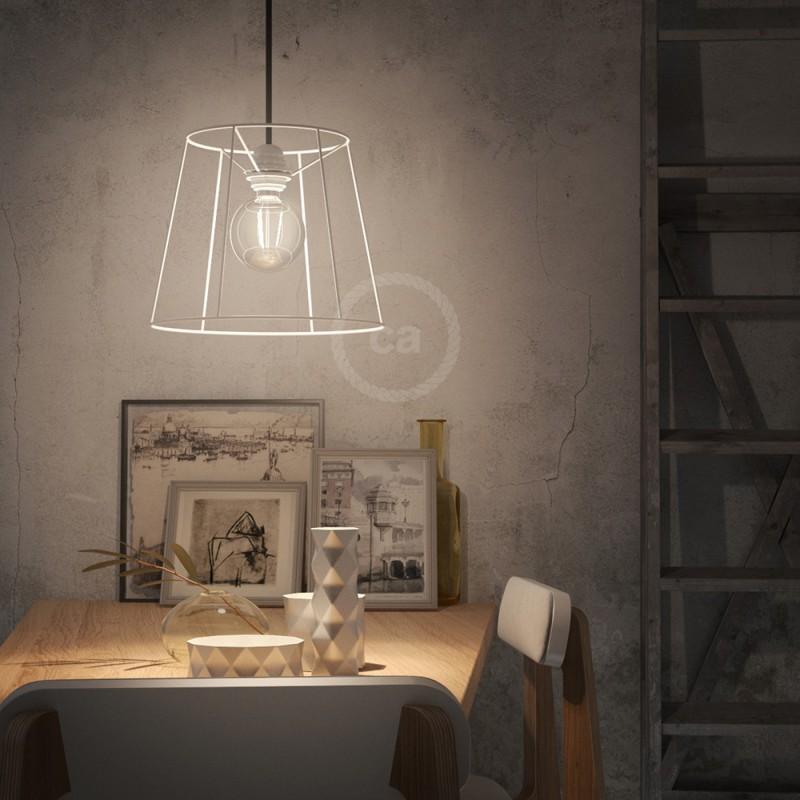 Jaula lámpara desnuda Cono metal color Blanco casquillo E27