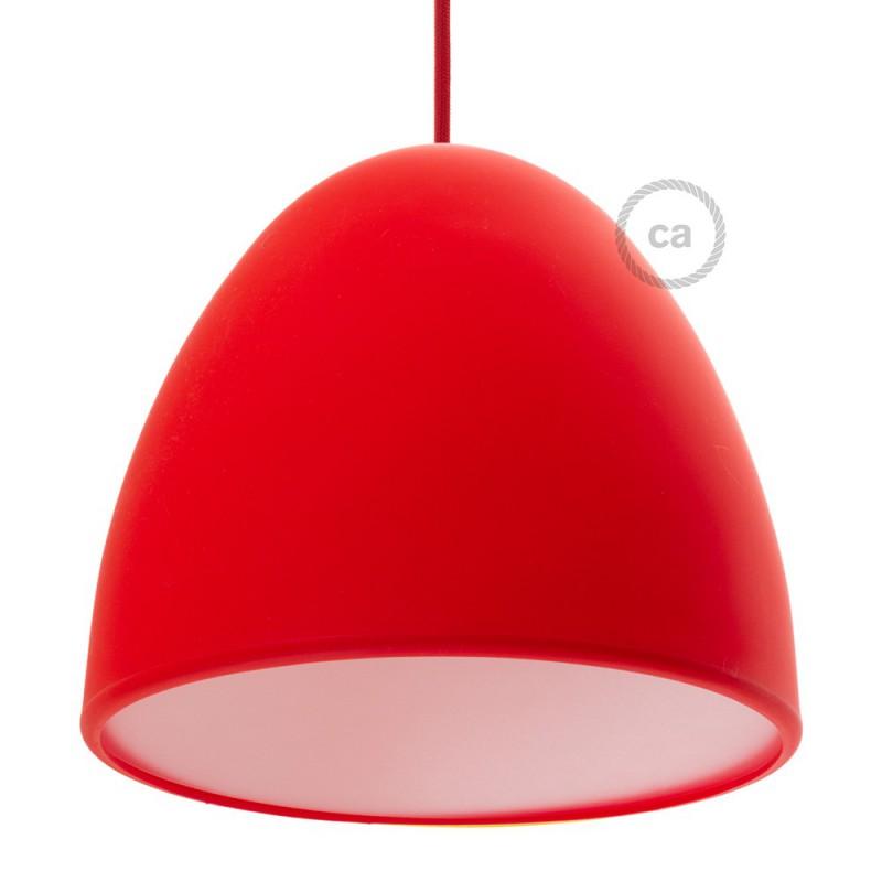 Pantalla en silicona roja completo de difusor y prensaestopa. Diámetro 25 cm.
